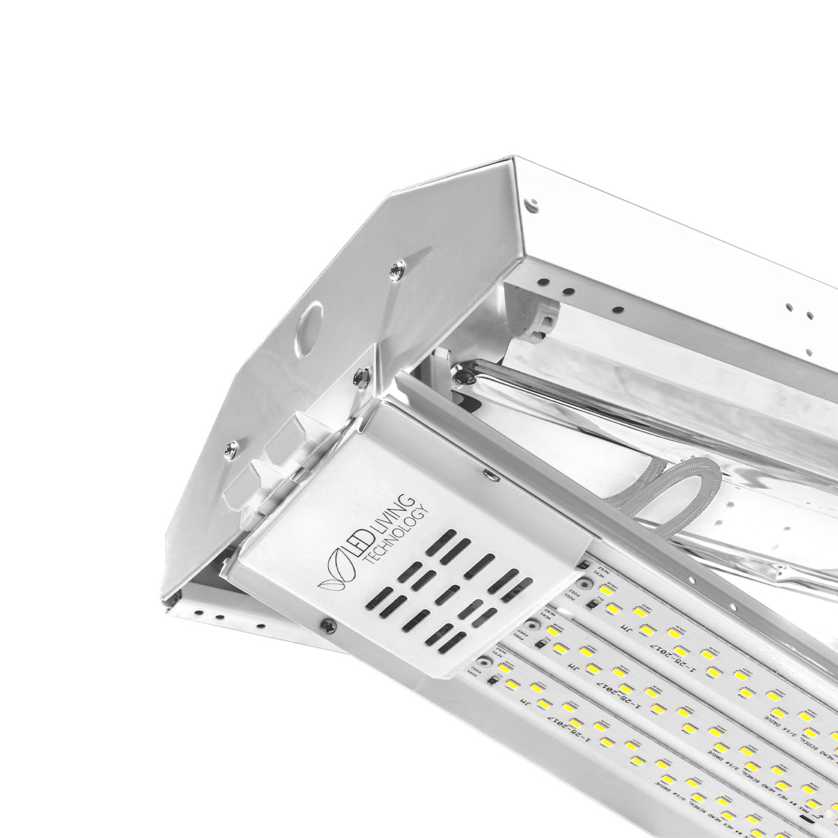Rapid single-person installation is possible with this LED retrofit for fluorescent linear high bays