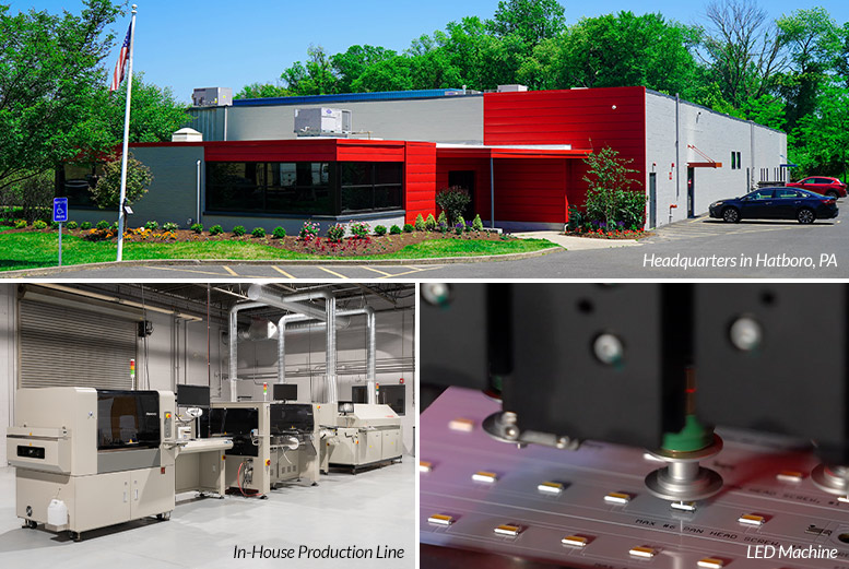 LLT's headquarters in Hatboro, PA, and our in-house production line.